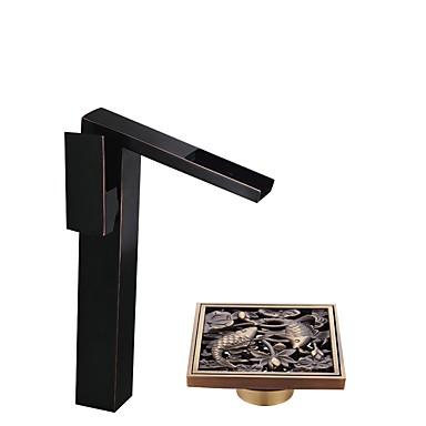 Fürdőszoba mosogató csaptelep - Széleskörű Olajjal kezelt bronz Három lyukas Egy fogantyú egy lyukkal