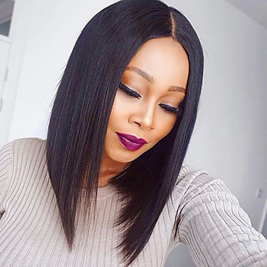 Human Hair Lace Front Wig Straight Wig Bob Haircut / With Baby Hair 130% African American Wig / 100% Hand Tied Women's / Brazilian