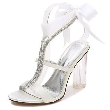 ff2ece114 baratos Sapatos de Noiva-Mulheres Com Laço Cetim Primavera   Verão Tira em  T
