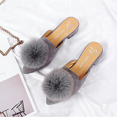 Women's Shoes Synthetic Microfiber PU Summer / Fall Comfort / Moccasin Clogs & Mules Chunky Heel Pointed Toe Pom-pom Black / Gray / Khaki