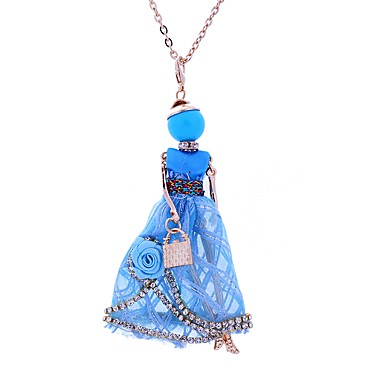Women's Pendant Necklace - Lace Princess Bohemian, Simple Style, Boho White, Dark Blue, Pink Necklace Jewelry For Party, Casual