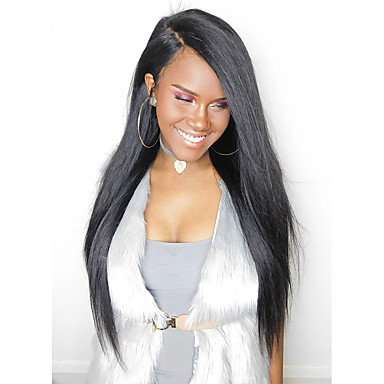 Remy Human Hair Glueless Lace Front / Lace Front Wig Malaysian Hair Straight Wig 180% 100% Hand Tied Women's Long Human Hair Lace Wig