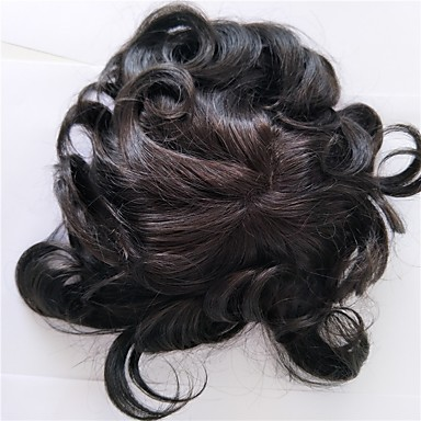Men's Human Hair Toupees Classic 100% Hand Tied Daily