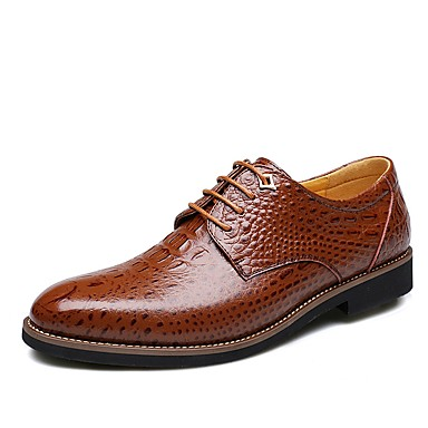 Men's Formal Shoes Leather Fall / Winter Comfort Oxfords Black / Brown / Wedding / Party & Evening / Dress Shoes