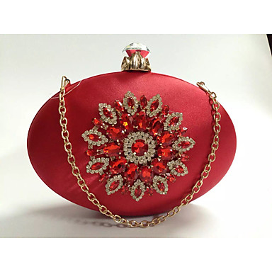 Women's Bags Silk Evening Bag Crystals Red / Royal Blue