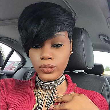 Synthetic Wig Women's Straight Black With Bangs Synthetic Hair African American Wig / With Bangs Black Wig Short Capless Dark Black