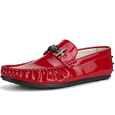 Men's Formal Shoes Patent Leather Summer / Fall Loafers & Slip-Ons White / Black / Red / Party & Evening