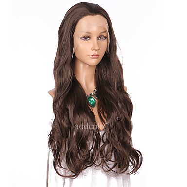 Szintetikus csipke front parókák Női Hullámos Barna Szintetikus haj Természetes hajszálvonal Barna Paróka Hosszú Csipke eleje Gesztenyebarna