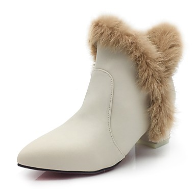 Women's Feather / Fur / Leatherette Fall / Winter Fashion Boots / Bootie / Fluff Lining Boots Block Heel Pointed Toe Booties / Ankle Boots Feather Black / Red / Almond / Party & Evening