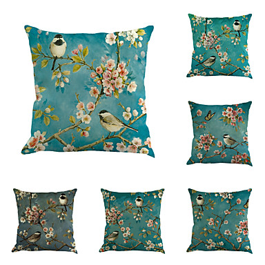 6 pcs Cotton / Linen Pillow Cover / Pillow Case, Novelty / Classic / Oil Painting Classical / Retro / Traditional / Classic