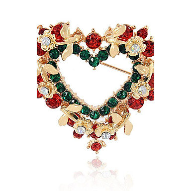 Synthetic Diamond Brooches - Heart Fashion Brooch Assorted Color For Christmas / Gift