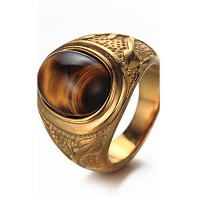 voordelige Heren Ring-Heren Ovaal Ring Titanium Staal Luxe Vintage Punk Modieus Elegant Modieuze ringen Sieraden Goud / Zilver Voor Verjaardag Lahja Dagelijks Straat Club 7 / 8 / 9 / 10 / 11