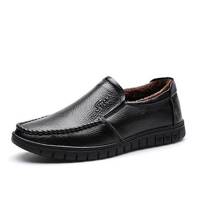 Férfi cipő Bőr Ősz / Tél Kényelmes / Fur Bélés / Fluff Bélés Papucsok & Balerinacipők Fekete / Barna / Esküvő / Party és Estélyi