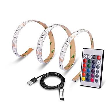 0.5m RGB Strip Lights 15 LEDs 5050 SMD 1 24Keys Remote Controller RGB Remote Control / RC / Cuttable / USB 5 V 1set / IP65 / Waterproof / Color-Changing