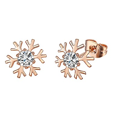 Women's AAA Cubic Zirconia Stud Earrings / Drop Earrings - Gold Plated Snowflake Bohemian Gold / Silver For Party / Birthday / Daily