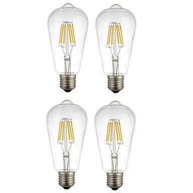 4db 6 W 560 lm E26 / E27 Izzószálas LED lámpák ST64 6 LED gyöngyök COB Dekoratív Meleg fehér / Fehér 220-240 V / RoHs