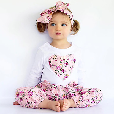 Girls' Floral Embroidered Clothing Set, Cotton Polyester Spring Fall Long Sleeves Floral Dresswear Blue Blushing Pink Beige Purple