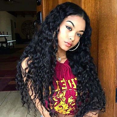 Human Hair Glueless Lace Front / Lace Front Wig Brazilian Hair Curly Wig Layered Haircut / With Baby Hair 130% Highlighted / Balayage Hair / Natural Hairline / African American Wig Women's Short