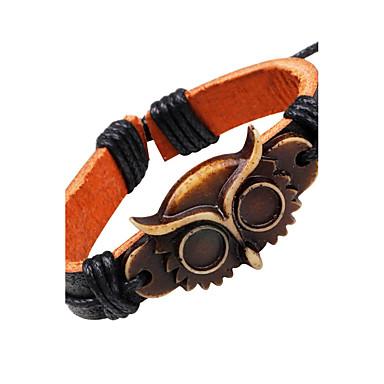 abordables Bracelet-Bracelets en cuir Cuir Chouette Rétro Vintage Bracelet Bijoux Noir pour Décontracté Sortie