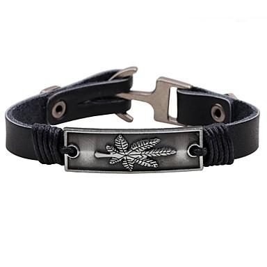 Men's Leather Bracelet - Leather Leaf Vintage, Punk Bracelet Black / Brown For Casual / Going out