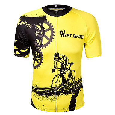 WEST BIKING® Unisex Short Sleeve Cycling Jersey - Yellow Graphic Gear Bike Sweatshirt Jersey Top, Quick Dry Reflective Strips Polyester / High Elasticity