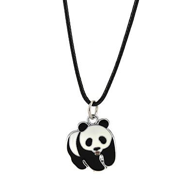 abordables Collier-Collier Pendentif Homme Femme Panda Classique Adorable Noir Colliers Tendance Bijoux pour Fiançailles Décontracté Forme de Cercle