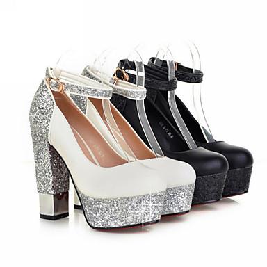 Chaussures 06234837 Nouveauté à Printemps Chaussures Noir Automne Femme Polyuréthane Talons Bottier Boucle Bout Talon rond Blanc Confort aF0HSw1qq