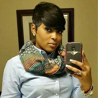 Human Hair Capless Wigs Human Hair Straight African American Wig Side Part Short Machine Made Wig Women's