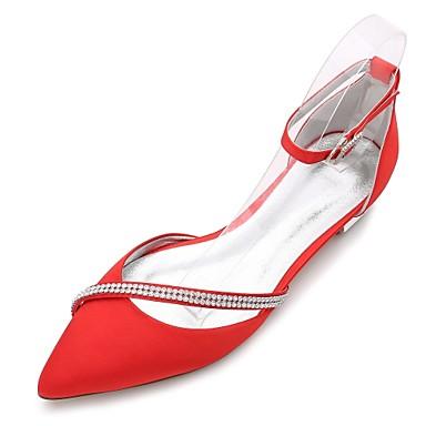 povoljno Ženske cipele-Žene Vjenčanje Cipele Ravna potpetica Krakova Toe / Otvoreno toe Štras / Svjetlucave šljokice Saten Udobne cipele / Balerinke / D'Orsay cipele Proljeće / Ljeto Plava / Svjetlosmeđ / Kristalne / EU40