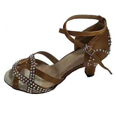 Női Latin cipők Szatén Szandál Strasszkő Személyre szabott sarok Dance Shoes Mandula / Otthoni