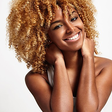 Synthetic Wig Kinky Curly Blonde Synthetic Hair African American Wig / For Black Women Blonde Wig Women's Medium Length Capless