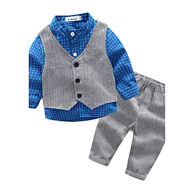 Baby Boys' Check Casual / Daily Lattice Clothing Set