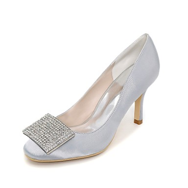 Satin Bout 06198717 Chaussures Talon Strass mariage Chaussures Printemps Bleu Basique Eté de Femme Ivoire Escarpin Aiguille carré Champagne 5gUPqTz