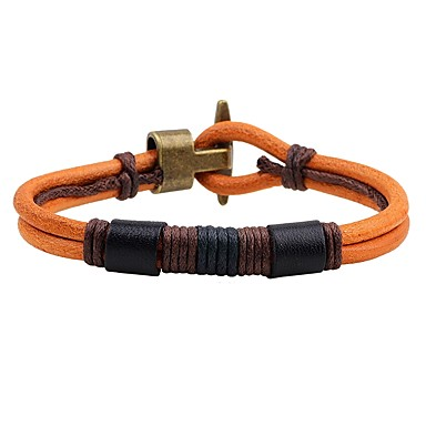 Men's Women's Leather Bracelet - Leather Anchor Vintage Bracelet Black / Yellow For Daily Going out