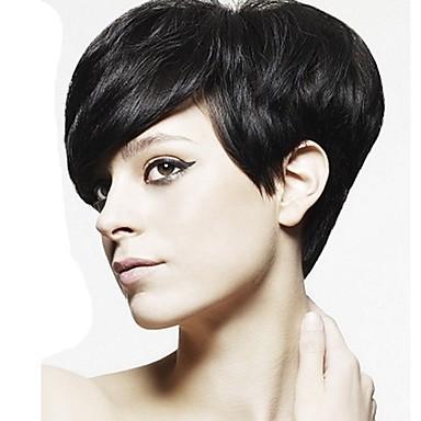 Szintetikus parókák Egyenes Pixie frizura Sűrűség Sapka nélküli Női Fekete Híres parókát Természetes paróka Jelmez paróka Rövid