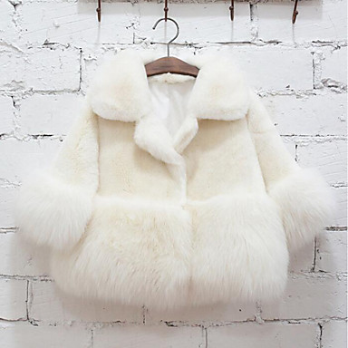 Girls' Solid Jacket & Coat, Faux Fur Special Fur Type Winter Long Sleeves White