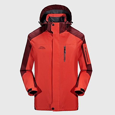 Men's Hiking Jacket Outdoor Winter Windproof Rain-Proof Wearable Breathability Winter Jacket Top Full Length Visible Zipper Camping /