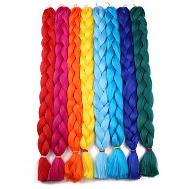 hesapli Güzellik ve Saç-Örgülü Saçlar Kroşe Jumbo Örgüler Sentetik Saç 1pc / paket Saç Örgü Uzun % 100 kanekalon saç