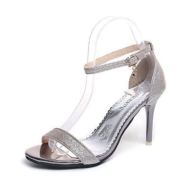 Mujer Zapatos PU Verano D'Orsay y Dos Piezas Sandalias Tacón Stiletto Puntera abierta Hebilla Negro / blanco / Fiesta y Noche Faux Jeu Faible Coût De Sortie oilme614
