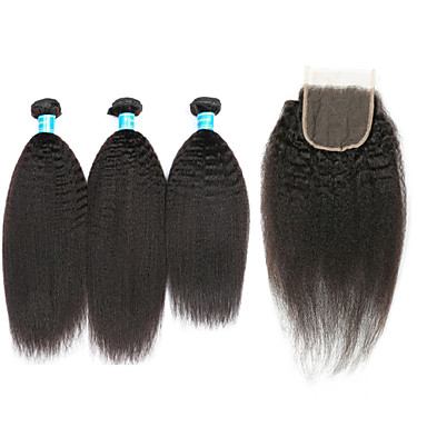3 Bundles with Closure Brazilian Hair kinky Straight Human Hair Hair Weft with Closure Human Hair Weaves Classic / African American Wig Natural Color Human Hair Extensions