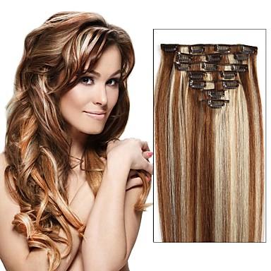 povoljno Perike i ekstenzije-S kopčom Proširenja ljudske kose Ravan kroj Ljudska kosa Ekstenzije od ljudske kose Nano 8a Žene Srednja Brown / Bleach Blonde