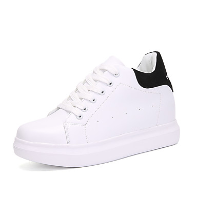 Women's Shoes Leatherette Spring Fall Comfort Sneakers Walking Shoes Wedge Heel Round Toe Lace-up for Black Pink