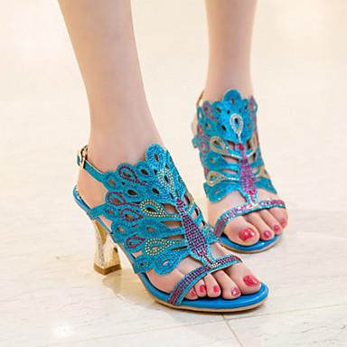 Nouveauté Boucle 06255406 Sandales Bout ouvert Or Talon Vert Automne Cristal Confort Bottier Eté Femme Bleu Chaussures Polyuréthane q1a7X7