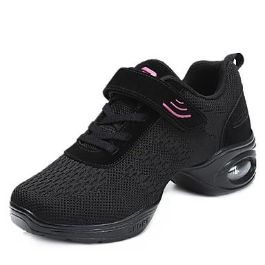 Női Tánccipők Kötött Sportcipő Alacsony Dance Shoes Fekete / Piros