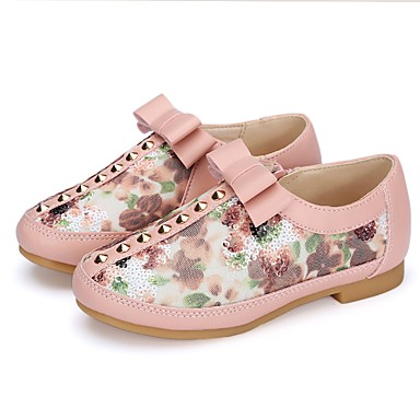 Girls' Shoes Paillette / Glitter / Leatherette Spring / Fall First Walkers / Flower Girl Shoes Flats Bowknot / Sequin / Rivet for Pink