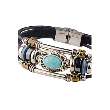 Men's Turquoise Leather Bracelet - Leather Personalized, Vintage Bracelet Black / Brown For Casual Stage