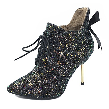 Women's Paillette / Synthetic Fall / Winter Ankle Strap / Fashion Boots / Bootie Boots Stiletto Heel Pointed Toe Booties / Ankle Boots Bowknot / Sequin / Ribbon Tie Black / Party & Evening