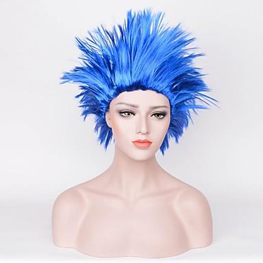 Szintetikus parókák Egyenes Aszimmetrikus frizura Természetes hajszálvonal Sűrűség Sapka nélküli Női Kék Carnival Paróka Halloween paróka