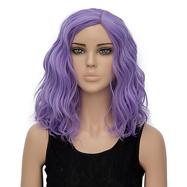 Synthetic Wig Water Wave Synthetic Hair Purple Wig Women's Short Capless
