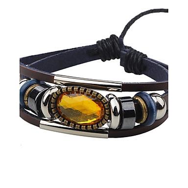 voordelige Herensieraden-Heren Dames Zirkonia Lederen armbanden Luxe Vintage Leder Armband sieraden Koffie Voor Causaal Uitgaan